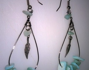 Earrings made with vintage stone beads