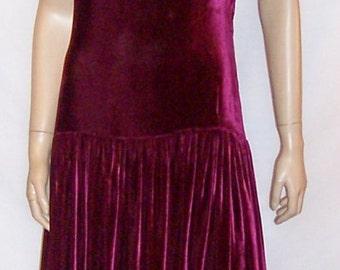 Deep Raspberry Silk Velvet  Floor Length Gown