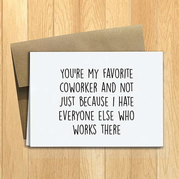 Funny Happy Birthday Quotes Coworker: PRINTED Favorite Coworker 5x7 Greeting Card Funny By DesignsLM