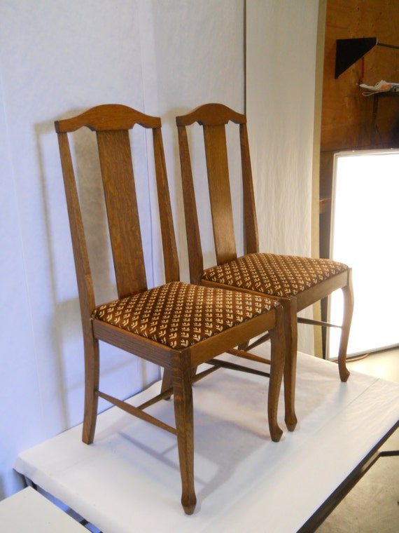 Vintage wood and velour pair of dining chairs 2 by for Narrow dining table and chairs