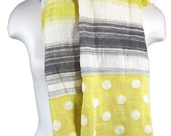 Artisan hand-painted scarf, striped and polka dots, linen/cotton, 150 x 150 cm