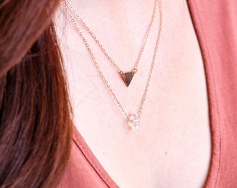 Personalized Triangle and Herkimer Diamond Set • Layering Necklaces • Geometric • Initial • Customized • Simple • Dainty • Delicate •Tiny