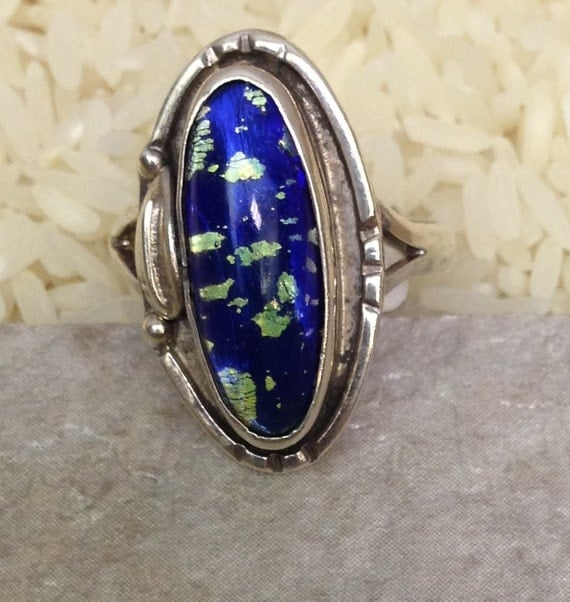 Sterling Silver Blue Dichroic Fused Glass Ring Handmade Handcrafted Blue Fused Glass One of a Kind Statement Ring Unique