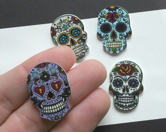 Set of 4 day of the dead sugar skull mixed colour 30mm decoden flat back cabochons cell phone cover