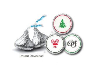 Christmas Hershey Kiss Label - Candy Sticker Label - Christmas Hershey kiss Sticker Label - Christmas candy Sticker - JPEG -INSTANT DOWNLOAD