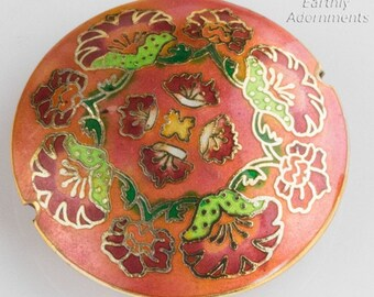 Cloisonné on brass disk bead, 44x12mm. Sold individually. B2-536(e)