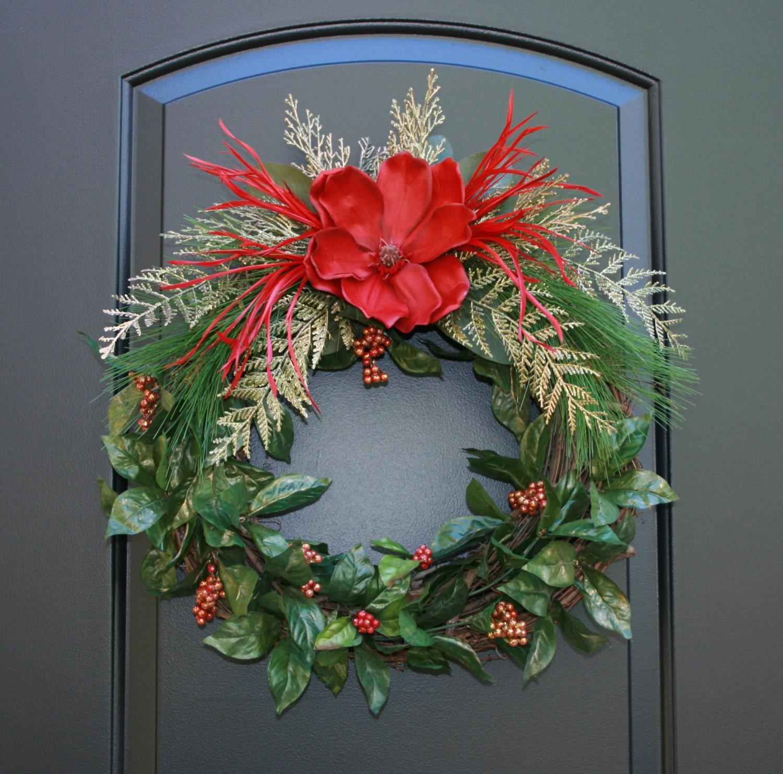 Magnolia, feathers and Golden Fern Christmas door wreath