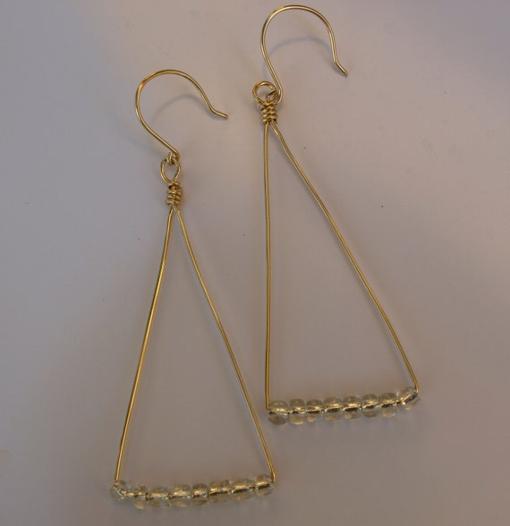 long gold earrings gold triangle earrings gold bead triangle. Black Bedroom Furniture Sets. Home Design Ideas