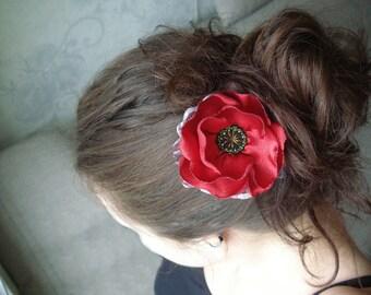 Brooch Poppy, satin brooch, Red flower, brooch flower, Poppy