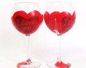 Valentine's Day wine glasses- Set of 2 hand painted wine glasses- Red- Sweetheart collection for her and for him. Personalized.