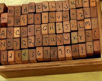 Handwriting Alphabet Stamp Set - Wooden Rubber Stamps -  upper case&lower case Letter Stamps  -number Stamps-70 pcs