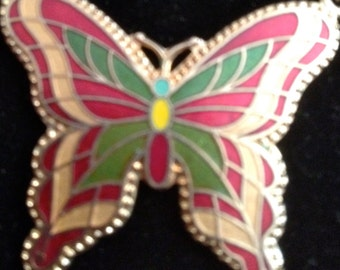 1970's Sarah Coventry Cloisonne Butterfly Pendent