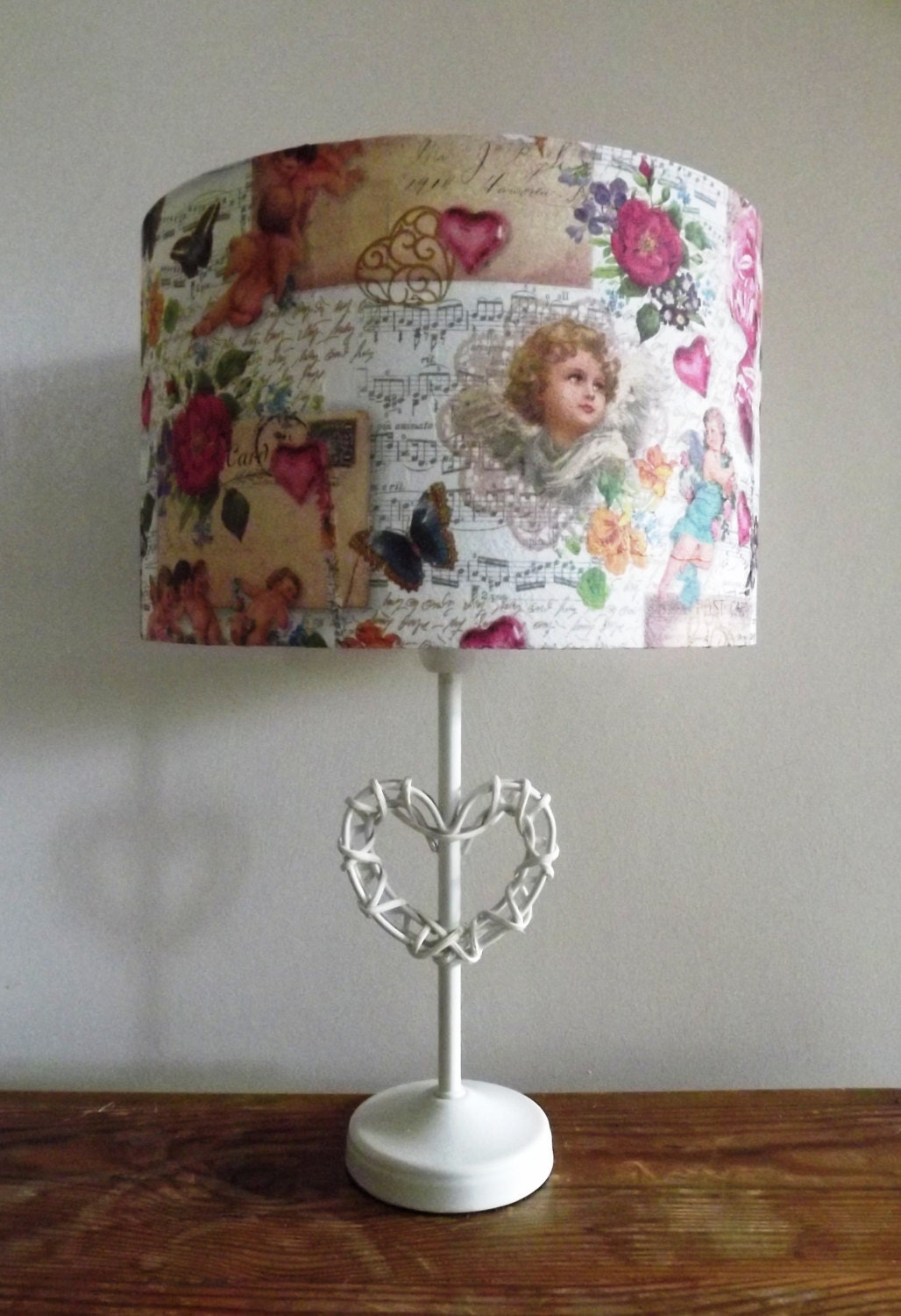 Shabby Chic Lampshade Light Shade Postcard Antique Script