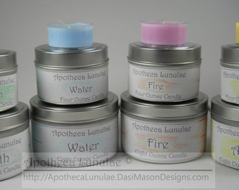 Set of 4 Elemental Ritual Candles  ***Earth, Air, Fire, and Water***