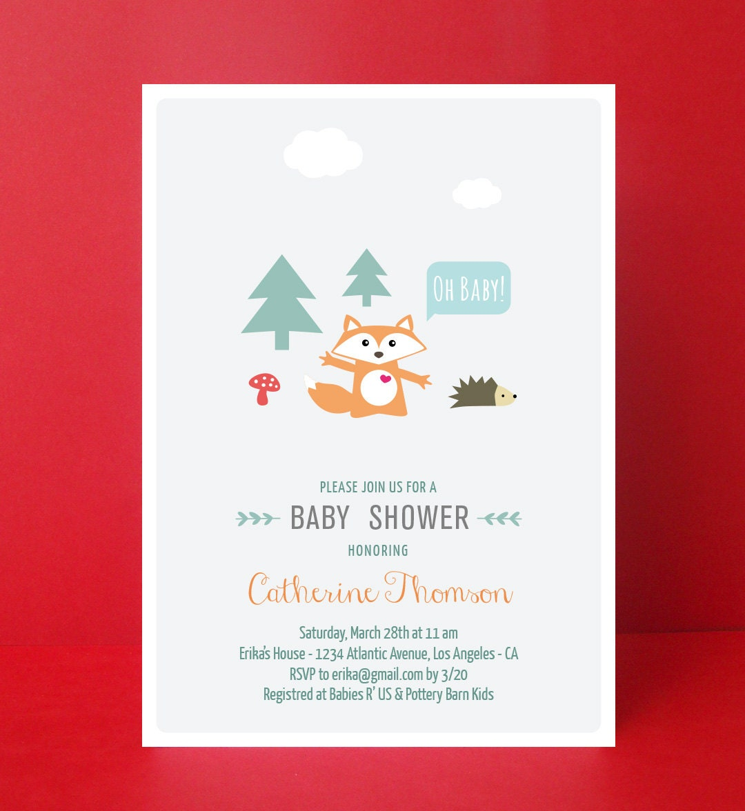 woodland baby shower invitation fox baby by paperpartydesign