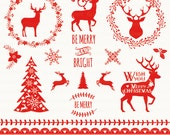 """Rustic Christmas Clipart. Vector Christmas Clipart. """"RUSTIC CHRISTMAS"""". Christmas deer. 15 images, 300 dpi. Eps, Png files. Instant Download"""