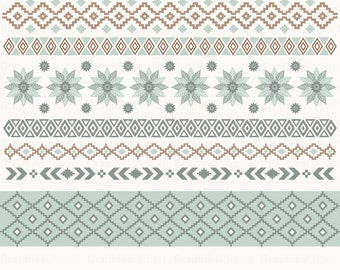 """Aztec Ribbons Clipart. """"TRIBAL RIBBONS"""". Aztec Patterns, Ethnic Borders. 8 images, 300 dpi. Eps, Png files. Instant Download."""