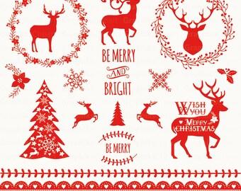 Deer Antler Christmas Wreath