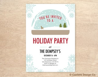 Winter Wonderland - Snowflake and Snow Globe - Custom Holiday Party Invitation - DIY Printing