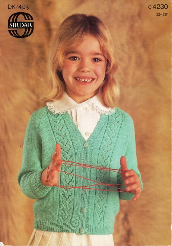 Knitting Pattern Cardigan 8 Ply : Girls Knitting Patterns Girls Cardigan V Neck Cardigan Lacy