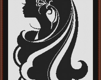 Pretty Lady with Long Hair Silhouette Black and White Counted Cross Stitch Pattern in PDF for Instant Download