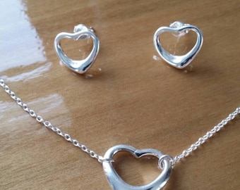 Stirling silver heart necklace and earring set