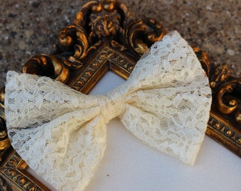 Lace Fabric Ivory Hair Bow - Fabric Bow - Teens Bow -  Girls Bow - Special Ocassion Bow