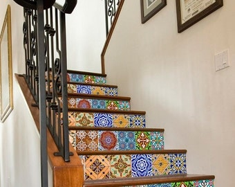 Stair stickers etsy uk - Stickers imitation carrelage ...