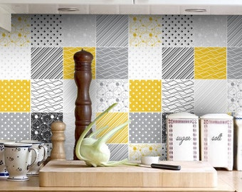 Backsplash Decal - vinyl backsplash - Yellow Gray - Tiles Decals - Tiles for Kitchen - Tiles Stickers - PACK OF 32 - SKU:TilYeGray