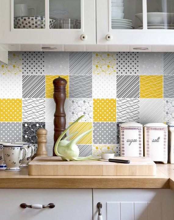 Kitchen Backsplash Yellow backsplash decal vinyl backsplash yellow gray tiles
