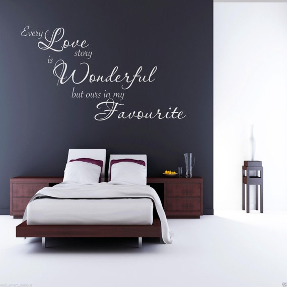 chaque amour histoire mur art sticker chambre citation sticker. Black Bedroom Furniture Sets. Home Design Ideas