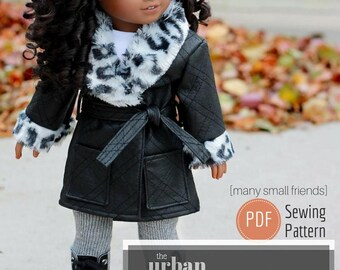 The Urban Belted Coat  - PDF Doll Clothes Pattern for 18 inch American Girl Dolls [Many Small Friends]