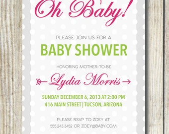 Custom Baby Shower Invitation - Oh Baby!