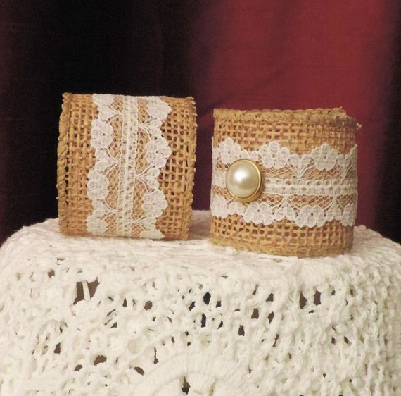 RUSTIC Firm BURLAP LACE Napkin Rings Tan w/ White Lace