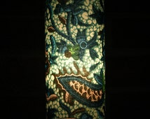 Accent Lamp - West African turquoise and brown vintage recycled floral fabric table lamp or pendant light