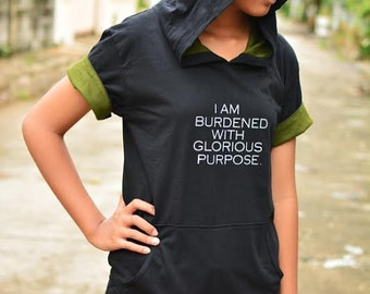 Black and Olive green cotton hoodie I am burdened with glorious purpose short sleeve lightweight hoodie