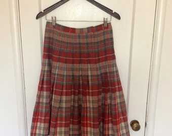Red and Grey Plaid Midi Skirt