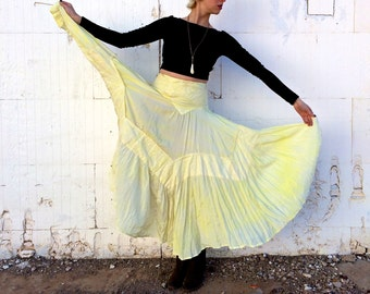 1970's Butter Yellow Eyelet Peasant Skirt