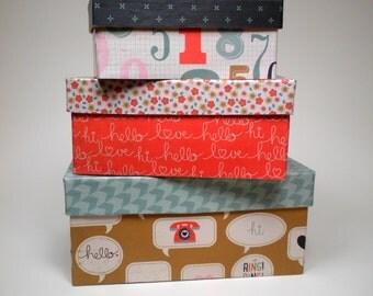 Set of 3 retro phone nesting boxes