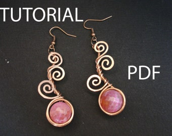 Earrings tutorial, jewelry tutorial, pdf tutorial, copper earrings, wire tutorial, wire wrpped tutorial, jewellery tutorial, tutorial, pdf