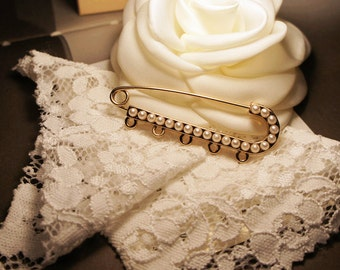 2pcs Exquisite Gold-Plated 22 mm Brooch Pin Back Safety Pin, With Layed Faux Pearls, Amazing, Artistic crafts
