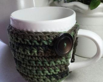 Clearance -Crochet Coffee Cup Cozy Camouflage Mug Cozy Ready to Ship