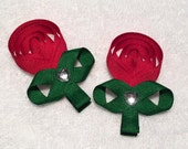 Rose Clips - Set of 2 Sculptured Ribbon Hair Clips with - Red Rose with Green Leaves and Clip - Heart Embellishment  - ADORABLE!