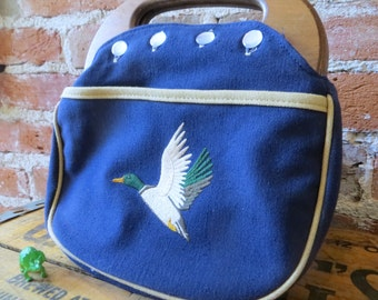 Vintage 1960's Mallard Duck clutch with Contrast Piping and Wooden Handle