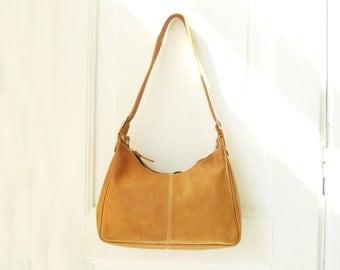 Vintage tan genuine leather shoulder strap bag hobo bagTote Purse Summer Boho chic Unique Designer