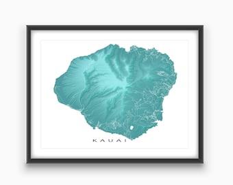 Kauai Map, Kauai Art Print, Hawaii Maps, Kauai Hawaii USA