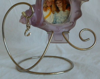1990s Disney The Little Mermaid Lavender Frosted Glass Sea Shell Picture Frame with Silver Ariel Charm