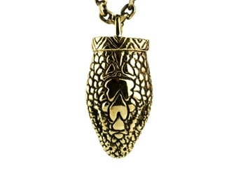 Snake Necklace Jewelry Golden Color Bronze Pendant with Handmade Chain Gothic Boho Jewelry - FPE006