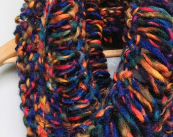 The Portage Cowl in Sunset - Handmade hand-knit chunky cowl in wool blend by Boom Knits