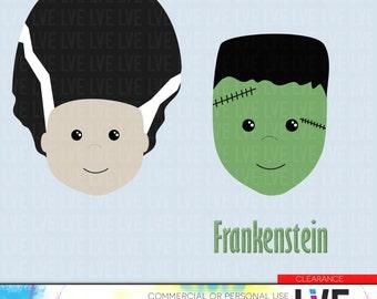 Clearance - Halloween Frankenstien Digital Clip Art Images, Graphics, Images, Digital Clipart Commercial or Personal Usage